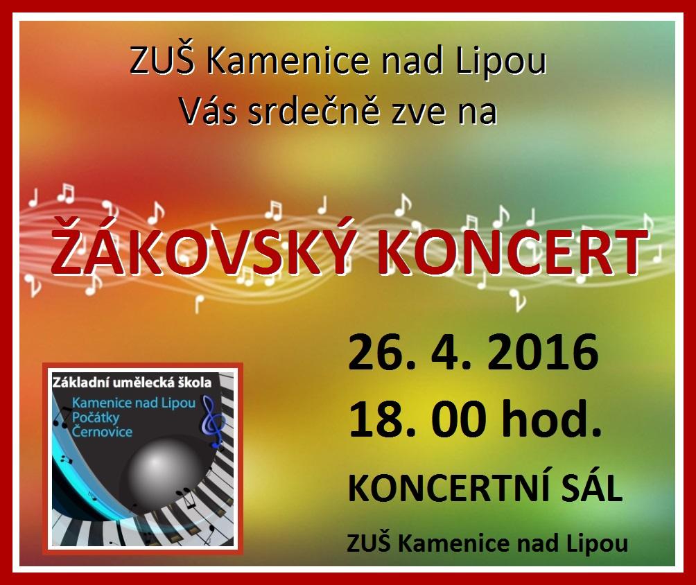 26. 4. 2016  - ŽÁKOVSKÝ KONCERT KAMENICE NAD LIPOU