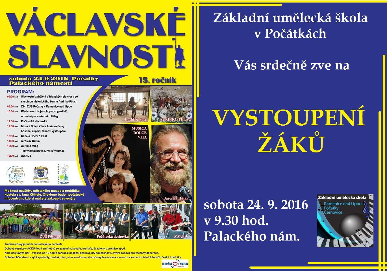 24. 9. 2016 - VYSTOUPENÍ - VÁCLAVSKÉ SLAVNOSTI POČÁTKY