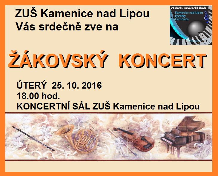 25. 10. 2016 - ZÁKOVSKÝ KONCERT Kamenice nad Lipou