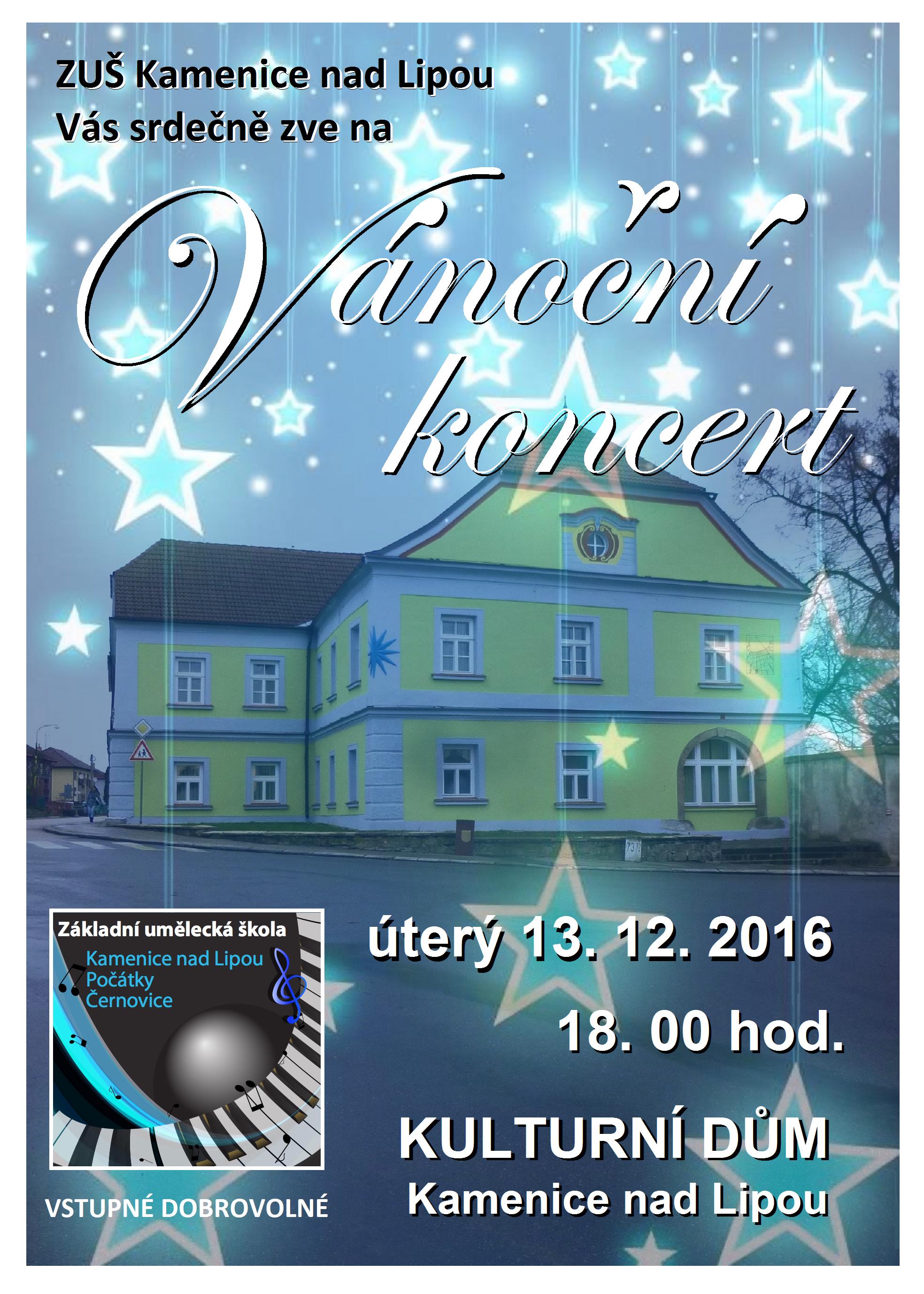 13. 12. 2016 - VÁNOČNÍ KONCERT - KAMENICE NAD LIPOU