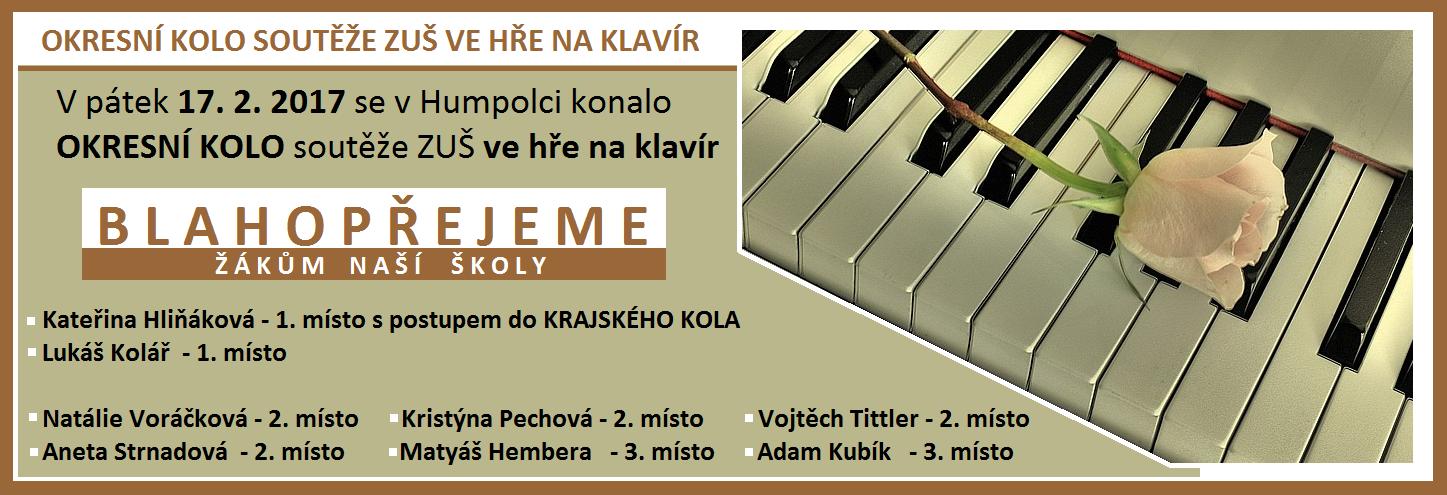 Okresní kolo soutěže ZUŠ ve hře na klavír - ÚSPĚCHY NAŠICH ŽÁKŮ