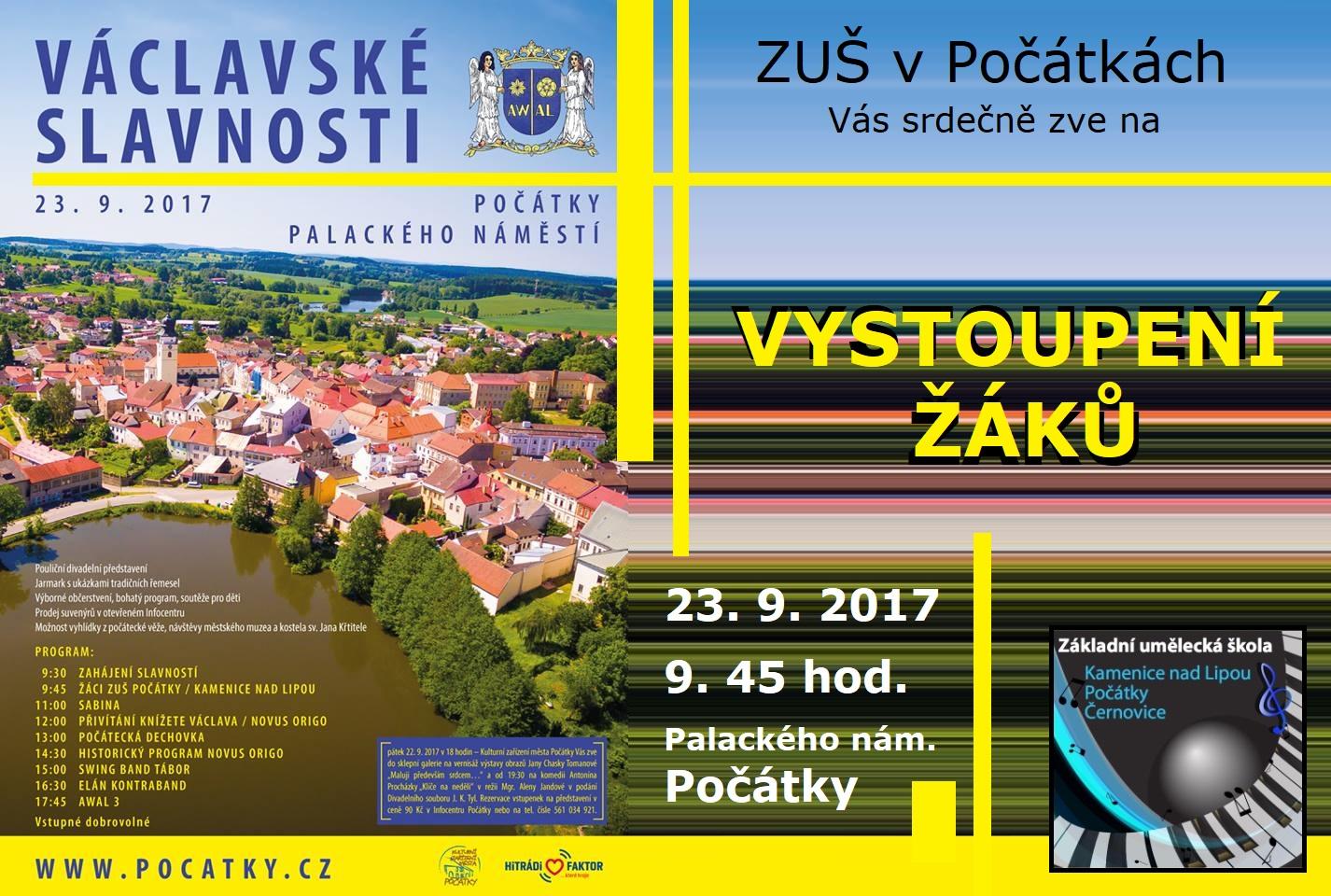 23. 9. 2017 - VYSTOUPENÍ - VÁCLAVSKÉ SLAVNOSTI POČÁTKY