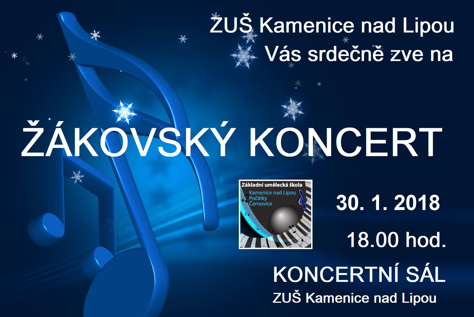 30. 1. 2018 - ŽÁKOVSKÝ KONCERT KAMENICE NAD LIPOU