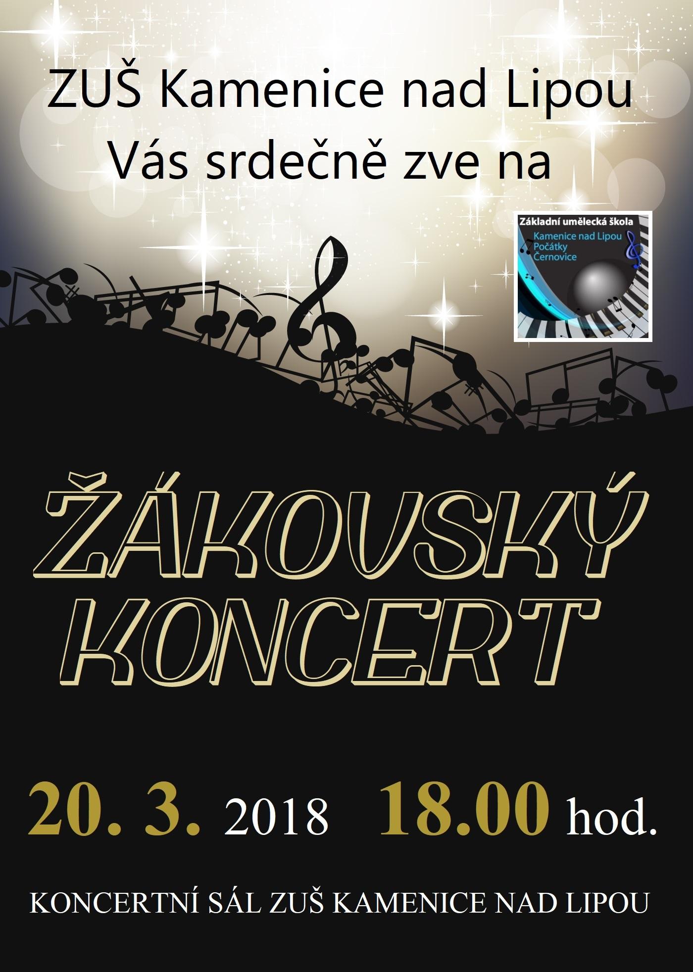 20. 3. 2018 - ŽÁKOVSKÝ KONCERT KAMENICE NAD LIPOU