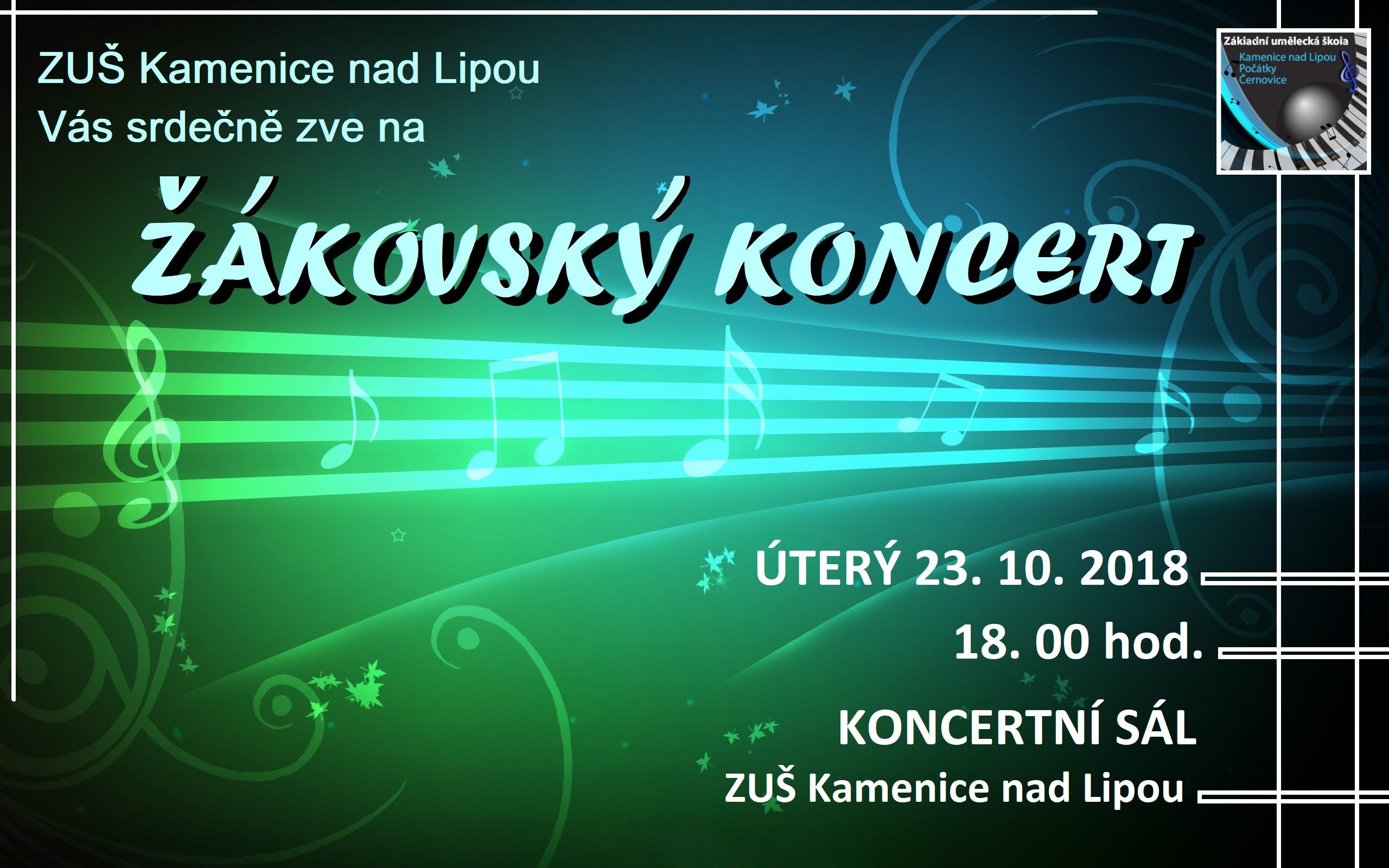 23. 10. 2018 - ŽÁKOVSKÝ KONCERT KAMENICE NAD LIPOU