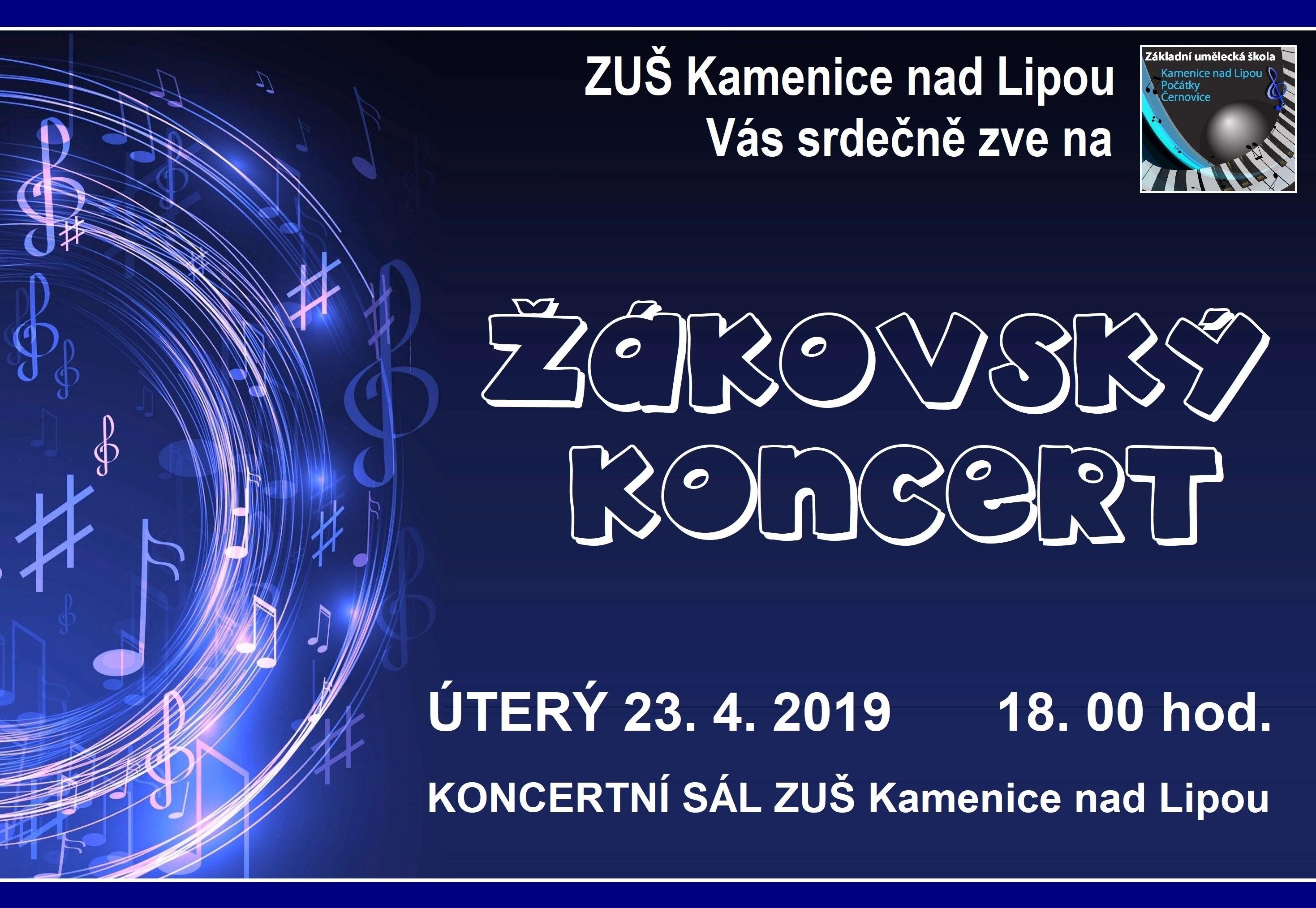 23. 4. 2019 - ŽÁKOVSKÝ KONCERT - KAMENICE NAD LIPOU