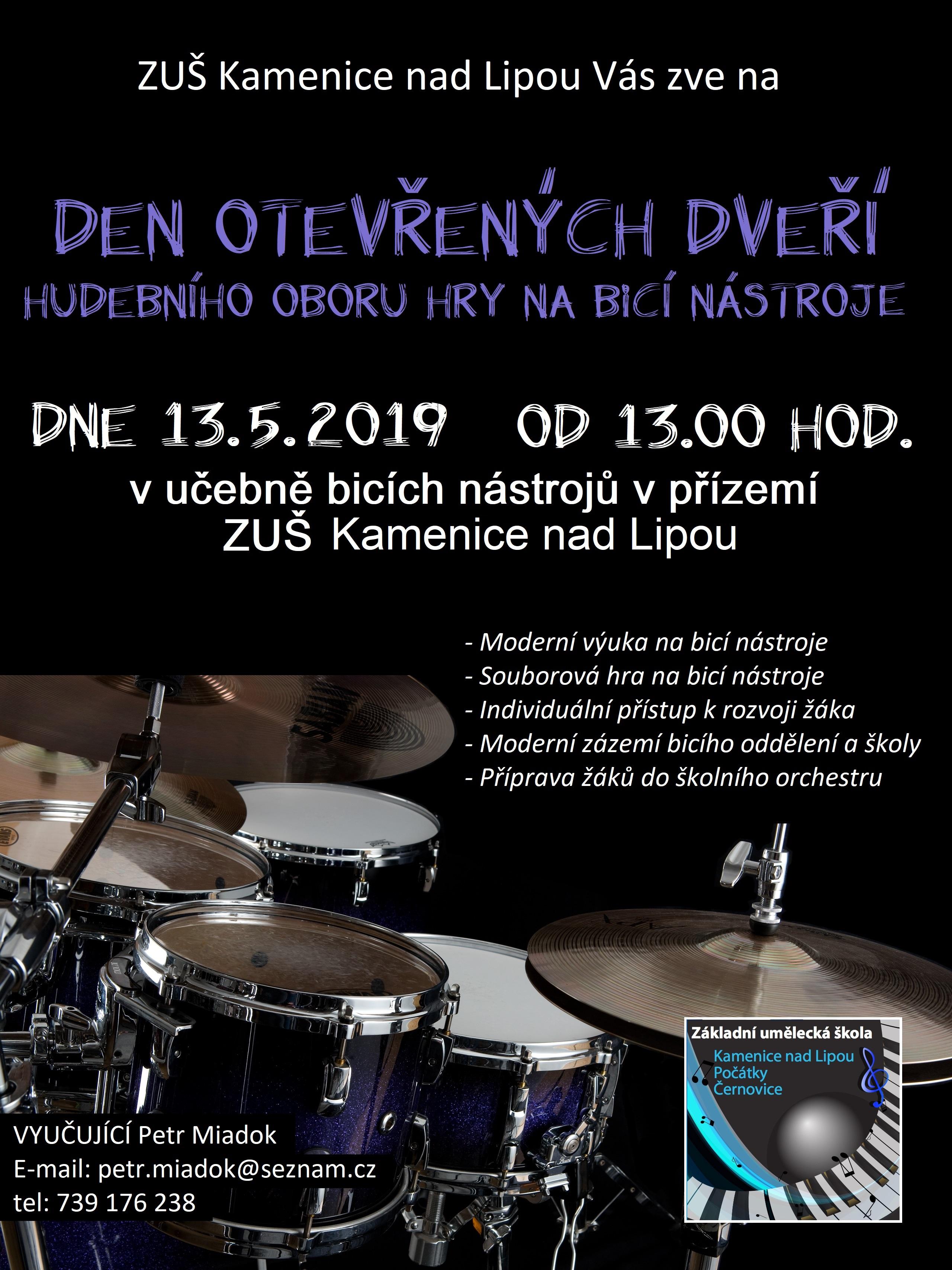 13. 5. 2019 - DEN OTEVŘENÝCH DVEŘÍ - HRA NA BICÍ NÁSTROJE