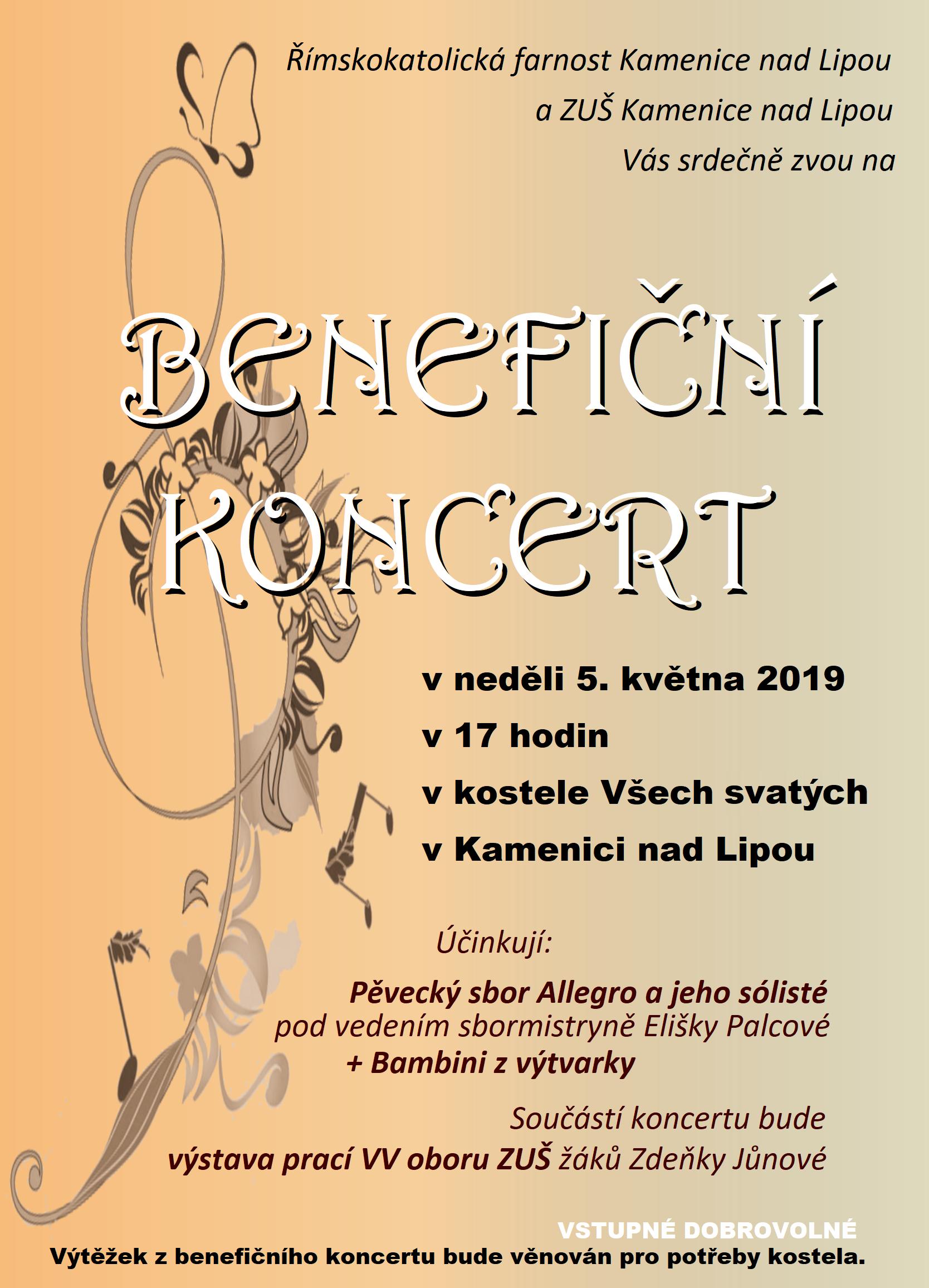 5. 5. 2019 - BENEFIČNÍ KONCERT KAMENICE NAD LIPOU