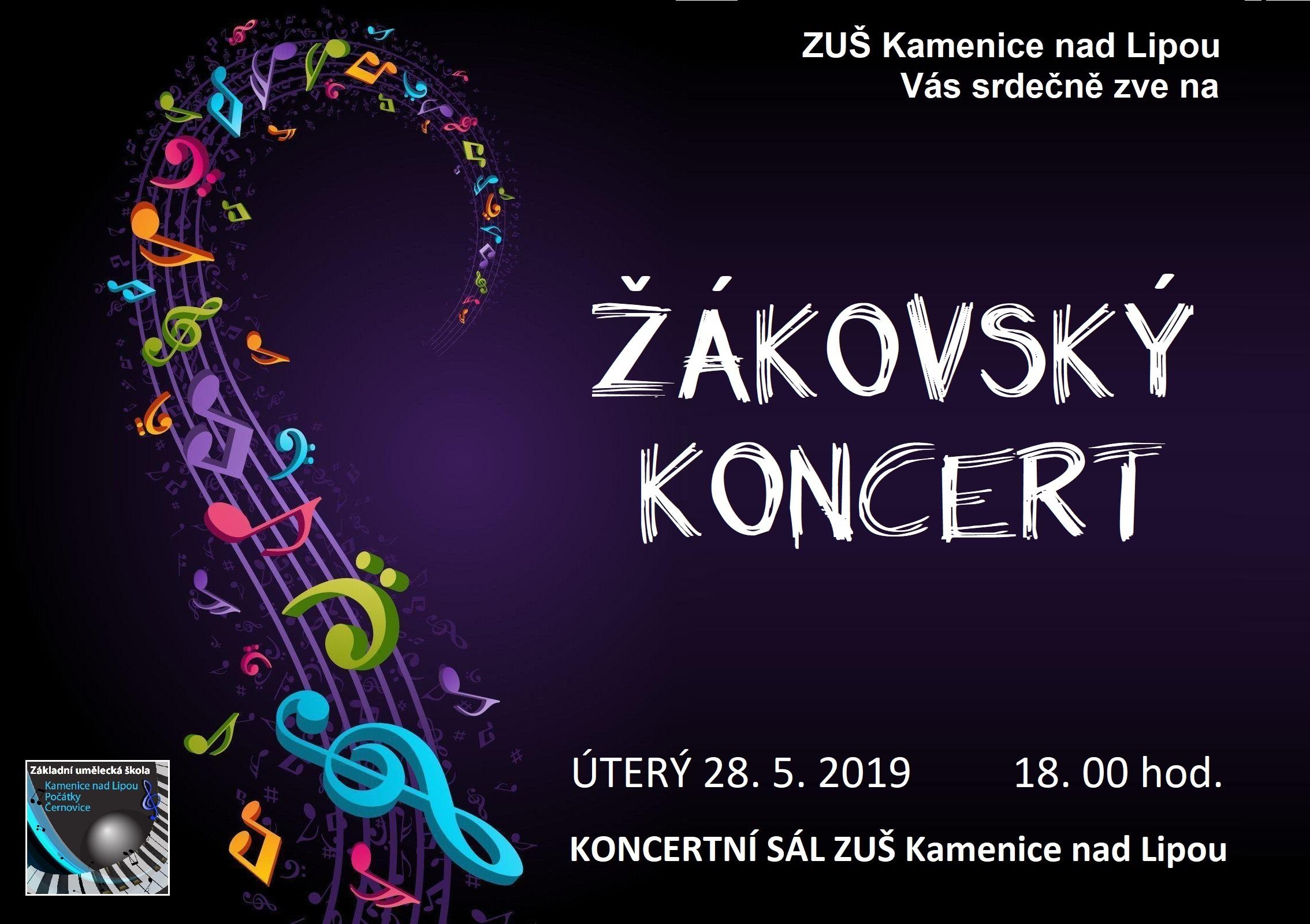 28. 5. 2019 - ŽÁKOVSKÝ KONCERT - KAMENICE NAD LIPOU