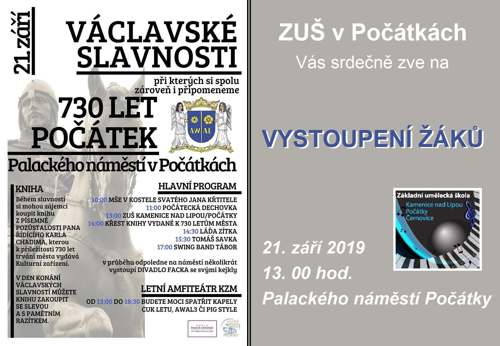 21.9. 2019 - VÁCLAVSKÉ SLAVNOSTI POČÁTKY