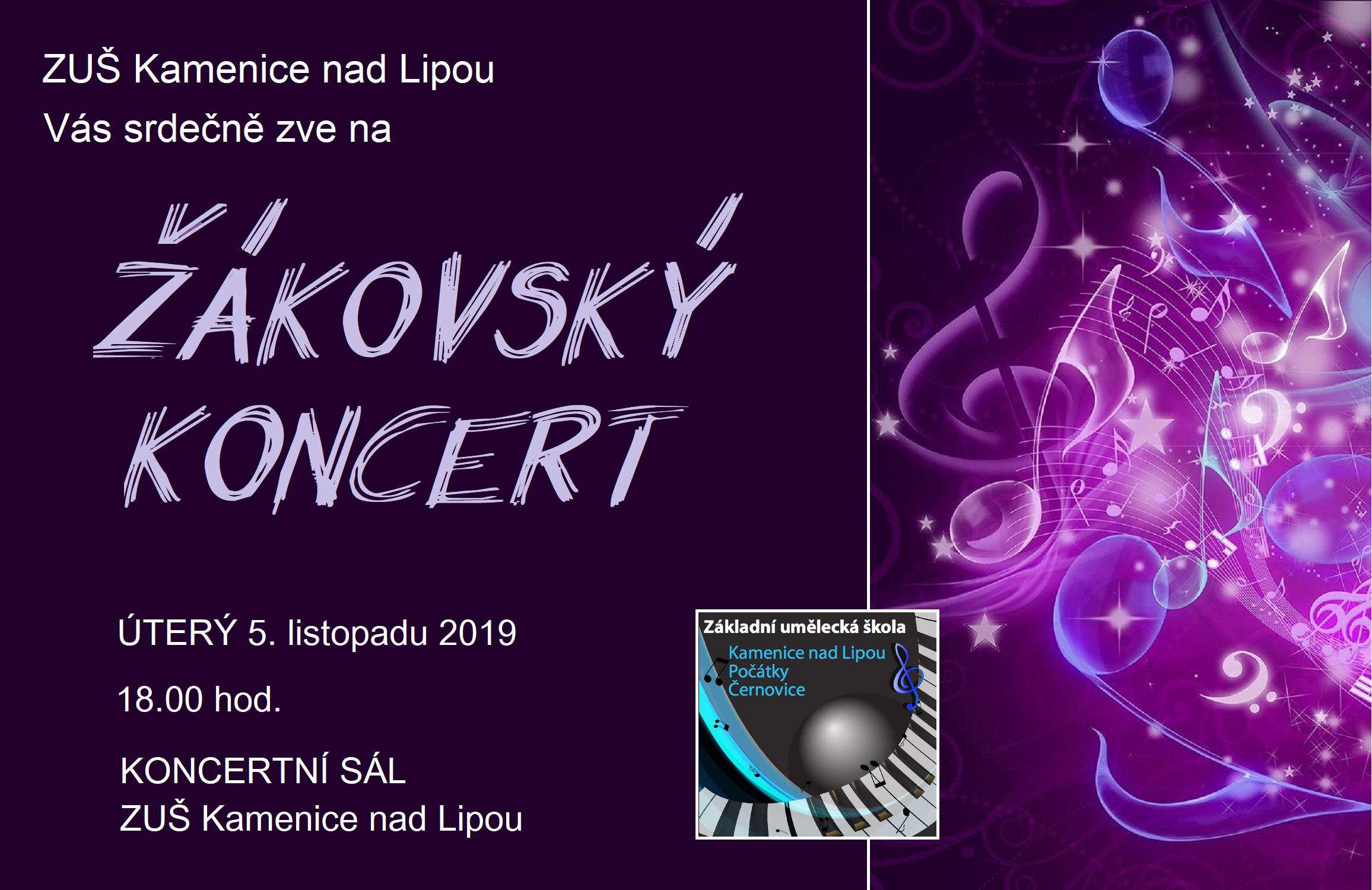 5. 11. 2019 - ŽÁKOVSKÝ KONCERT KAMENICE NAD LIPOU