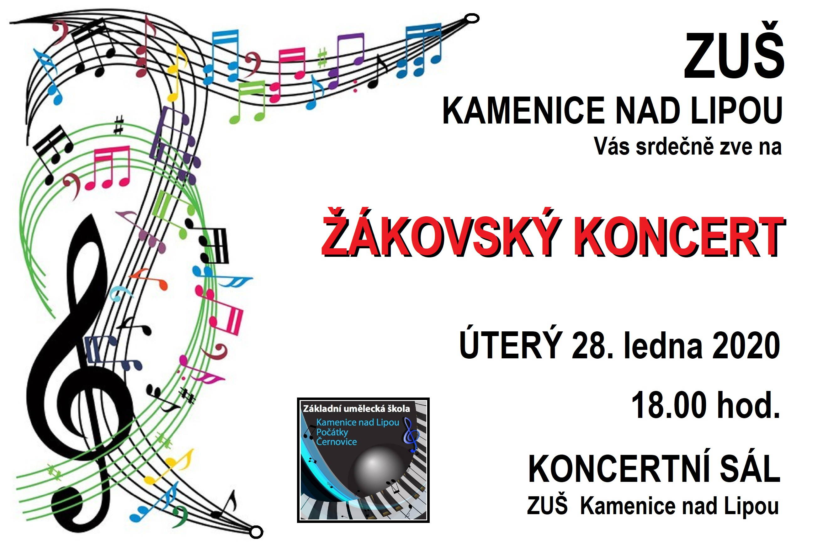 28. 1. 2020 - Žákovský koncert Kamenice nad Lipou