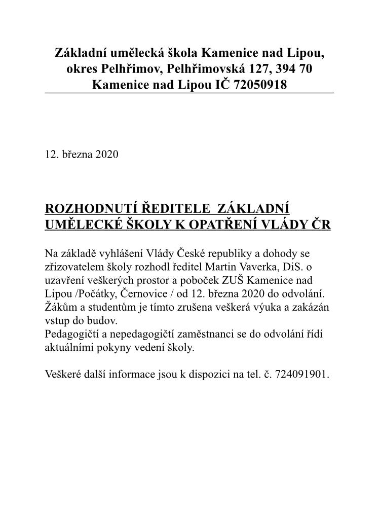 ROZHODNUTÍ ŘEDITELE ZUŠ K OPATŘENÍ VLÁDY ČR