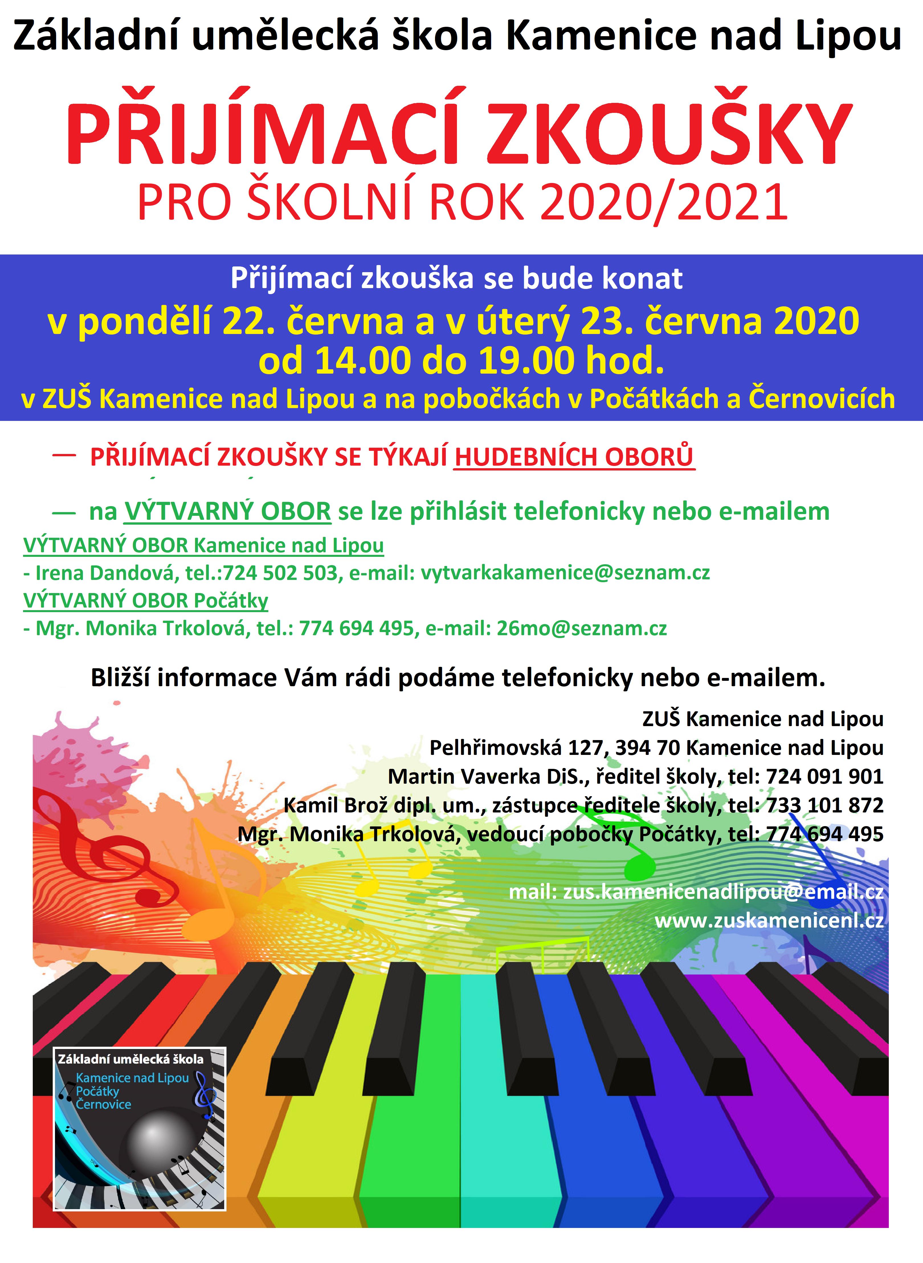 PŘIJÍMACÍ ZKOUŠKY PRO ŠKOLNÍ ROK 2020/2021