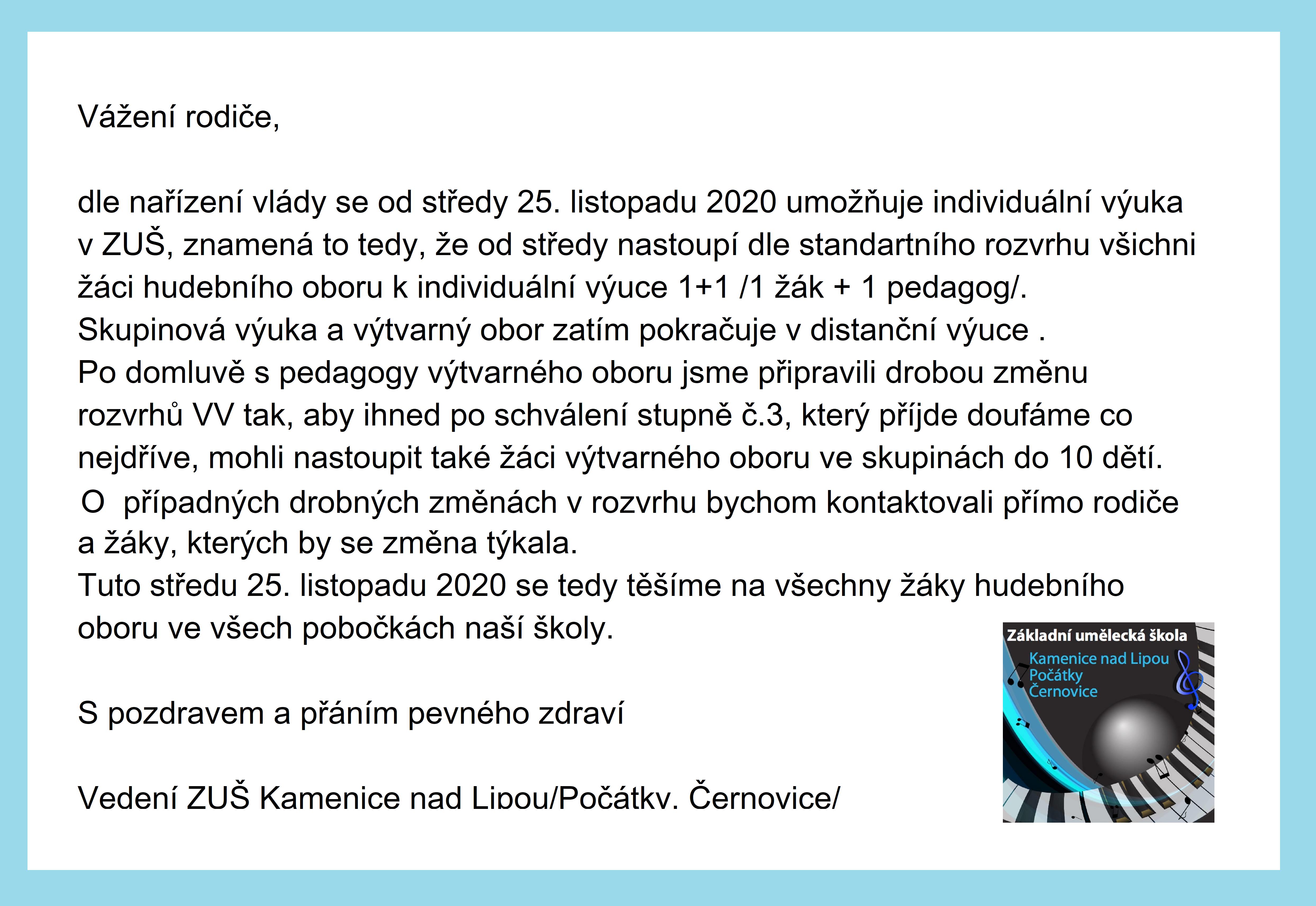 Informace k výuce na ZUŠ - od 25. 11. 2020
